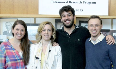 Kelly Award recipient Sarah Sarsfield with lab members Julia Slocomb, Felipe Schiffino, and Alexandre Kisner