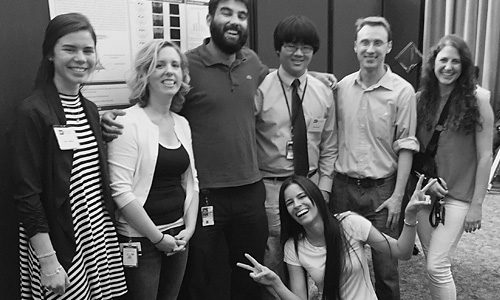 Summer 2016 Poster Day (from left to right): Kayla Hamilton, Sarah Sarsfield, Felipe Schiffino, Marcello Ma, Alexandre Kisner, Julia Slocomb, and (front) Yeka Aponte