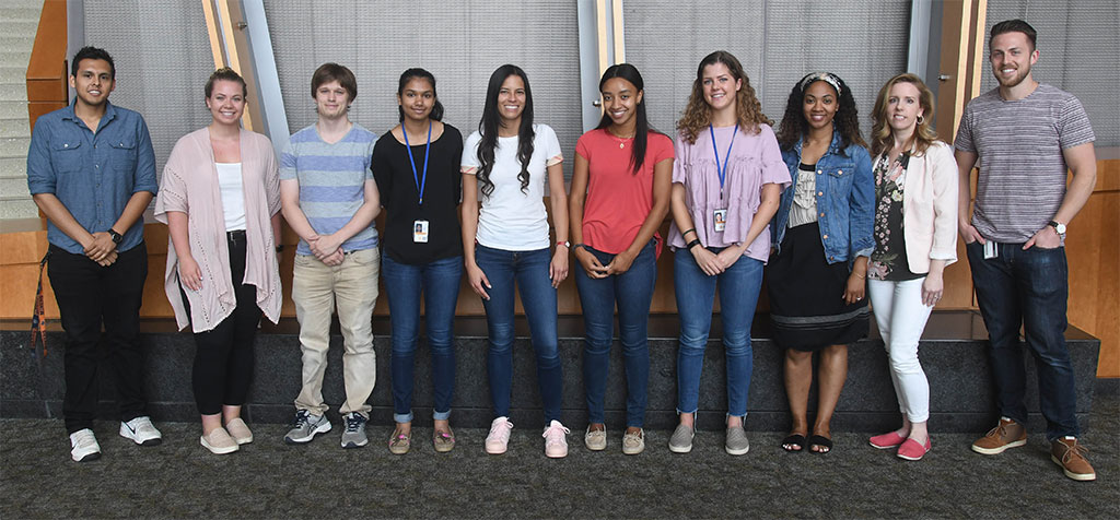 Left to right: Miguel Arenivar, Megan Anderson, Brenton Laing, Anjali Gajendiran, Yeka Aponte, Charity Russell, Lillian Behan, Mia Jefferson, Sarah Sarsfield, Justin Siemian