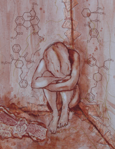 Artwork: Escape by Candy Stevens with Molecular Structures of Opiods