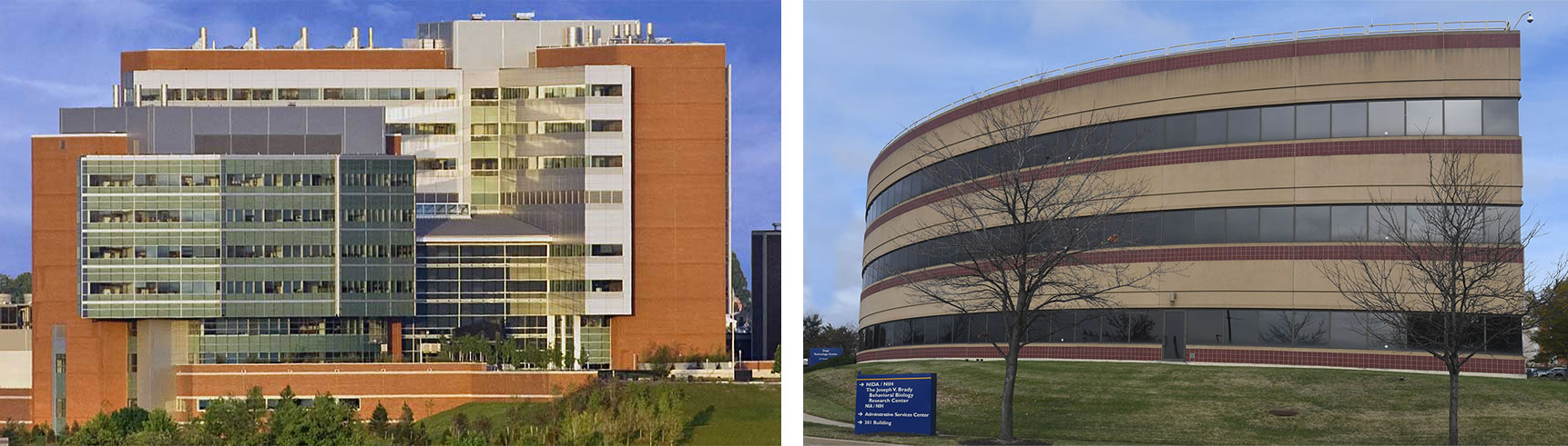 The NIDA IRP is located in the BiomedThe NIDA IRP is located in the Biomedical Research Center (left) and the Triad Technology Center (right).ical Research Center and the Triad Technology Center