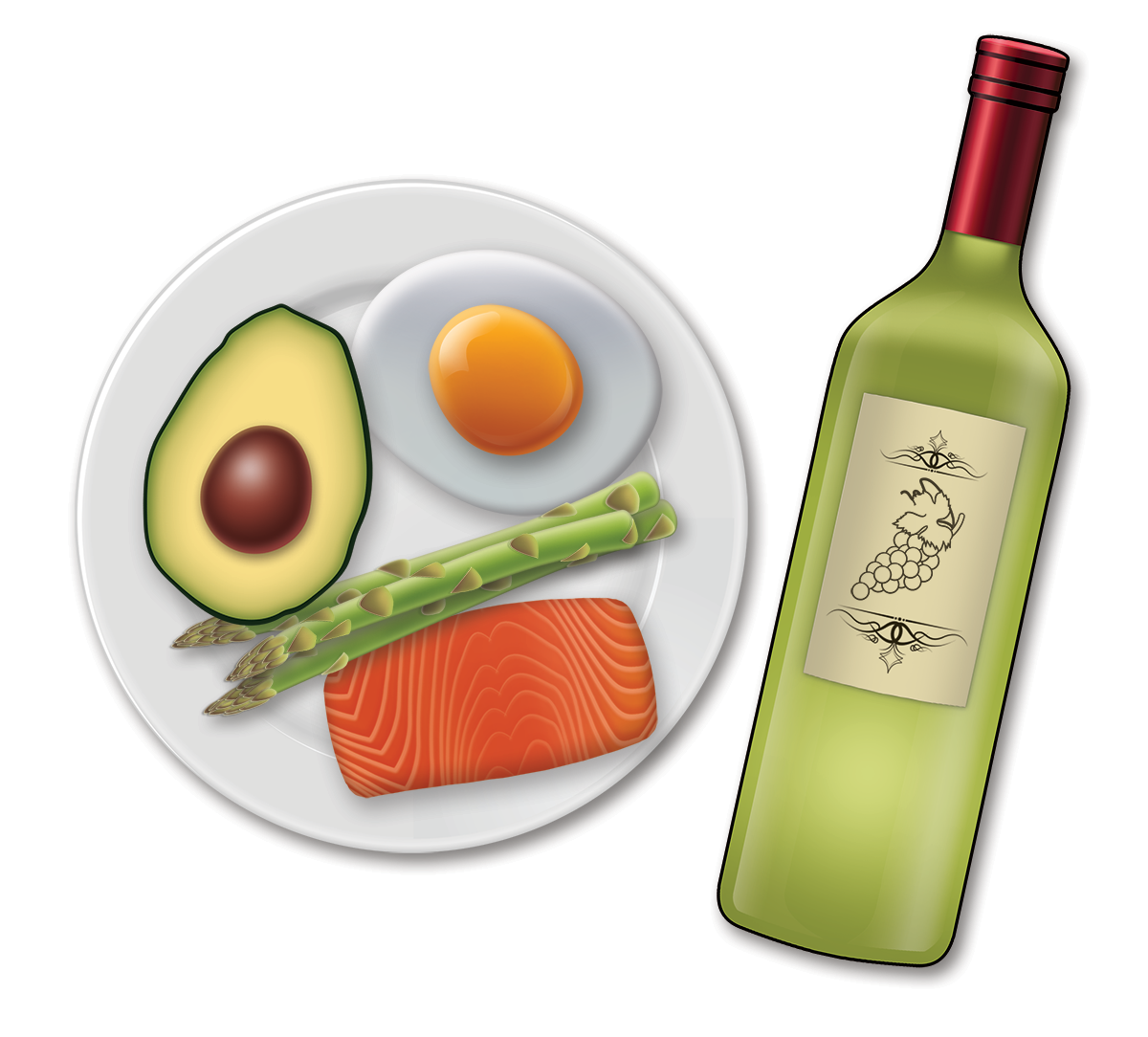 A ketogenic-friendly meal and a bottle of wine