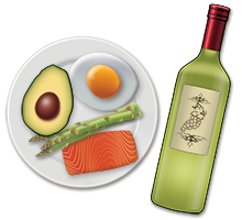 A ketogenic meal and a bottle of wine